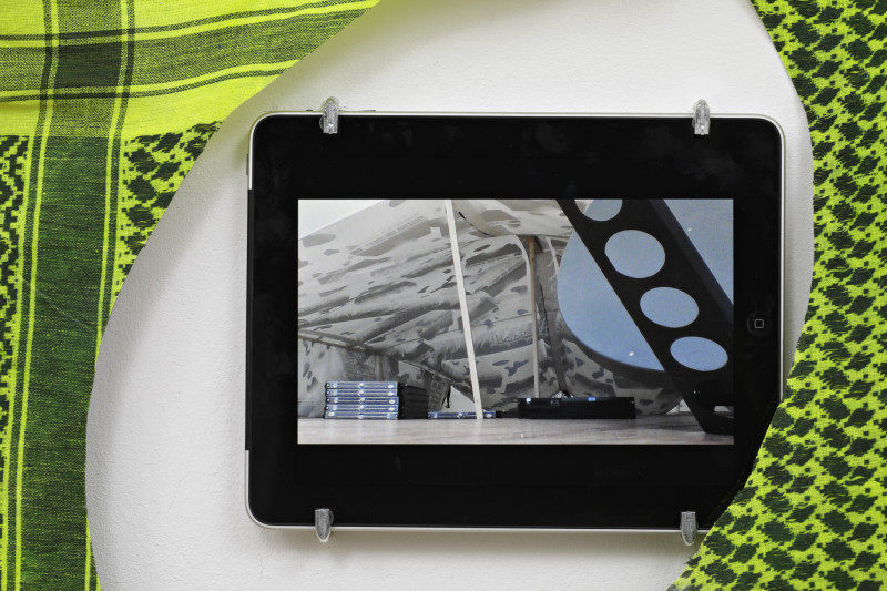 (iPad, eye in fabric) Live Ustream of bedouin tent data center at Mansteinstr. 3, 10783 Berlin